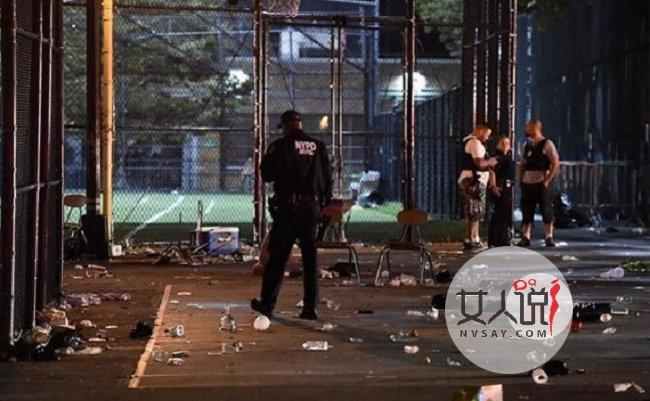纽约发生枪击事件 枪击事件现场一片狼藉